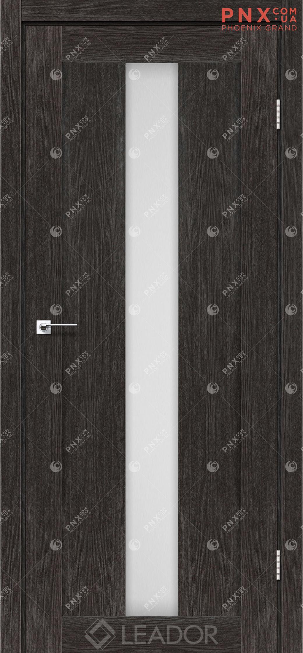 Межкомнатная дверь LEADOR Bari, Дуб Саксонский, Белое стекло сатин