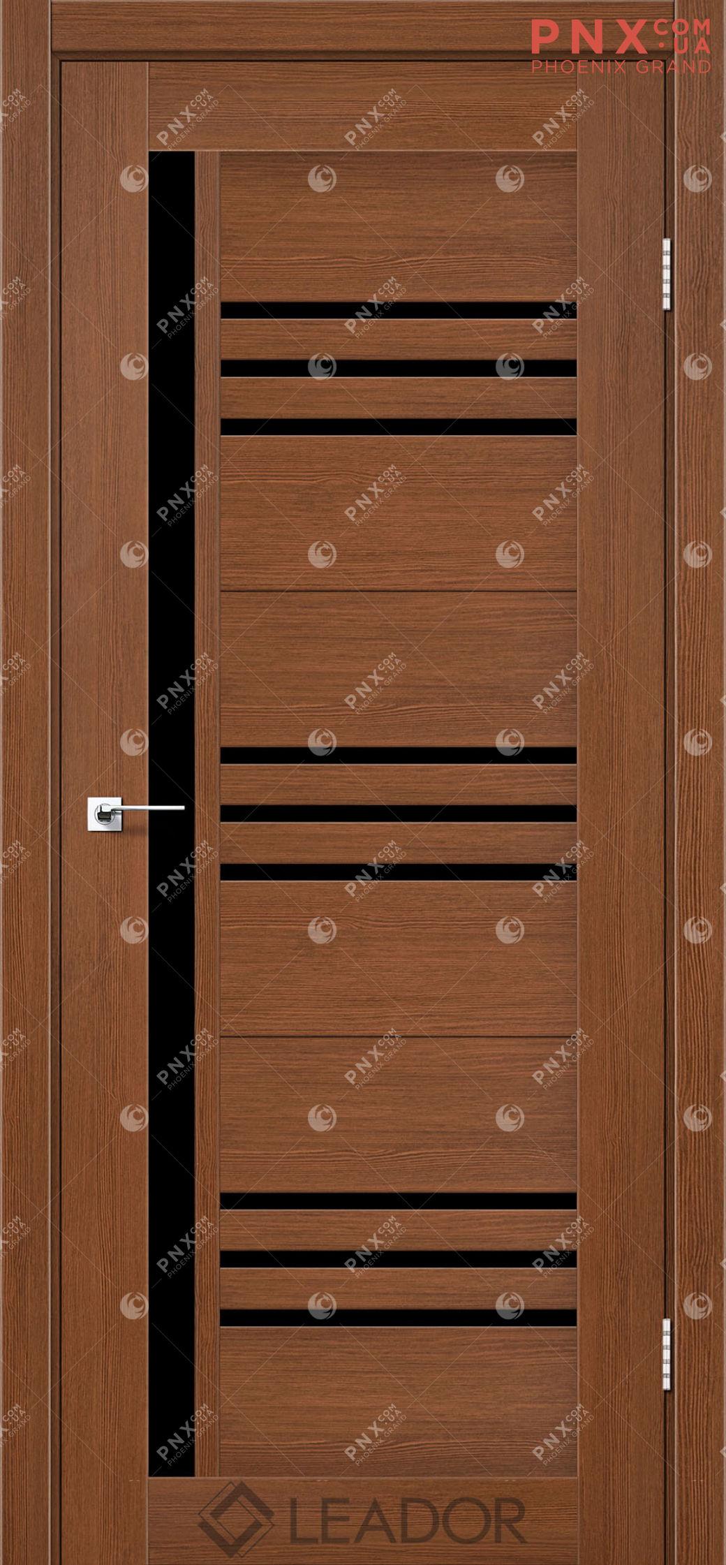 Межкомнатная дверь LEADOR Compania, Браун, Черное стекло