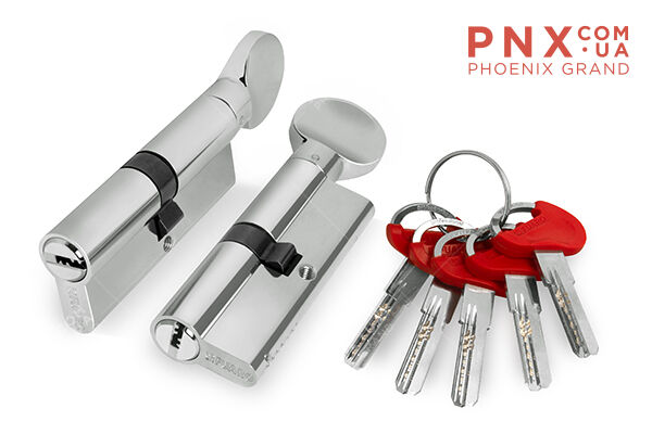 Цилиндровый механизм D-PRO502/80 mm (40+10+30) CP хром 5 кл. FUARO (с индивидуальным ключом)