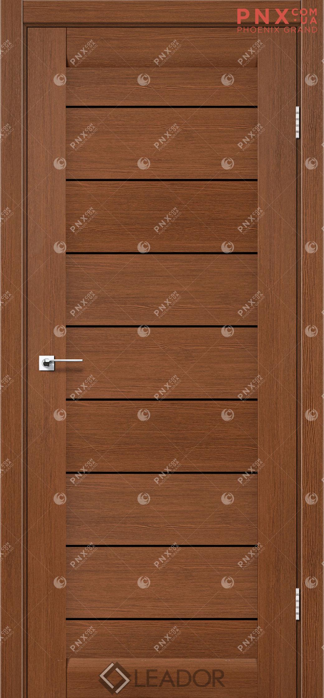 Межкомнатная дверь LEADOR Neapol, Браун, Черное стекло