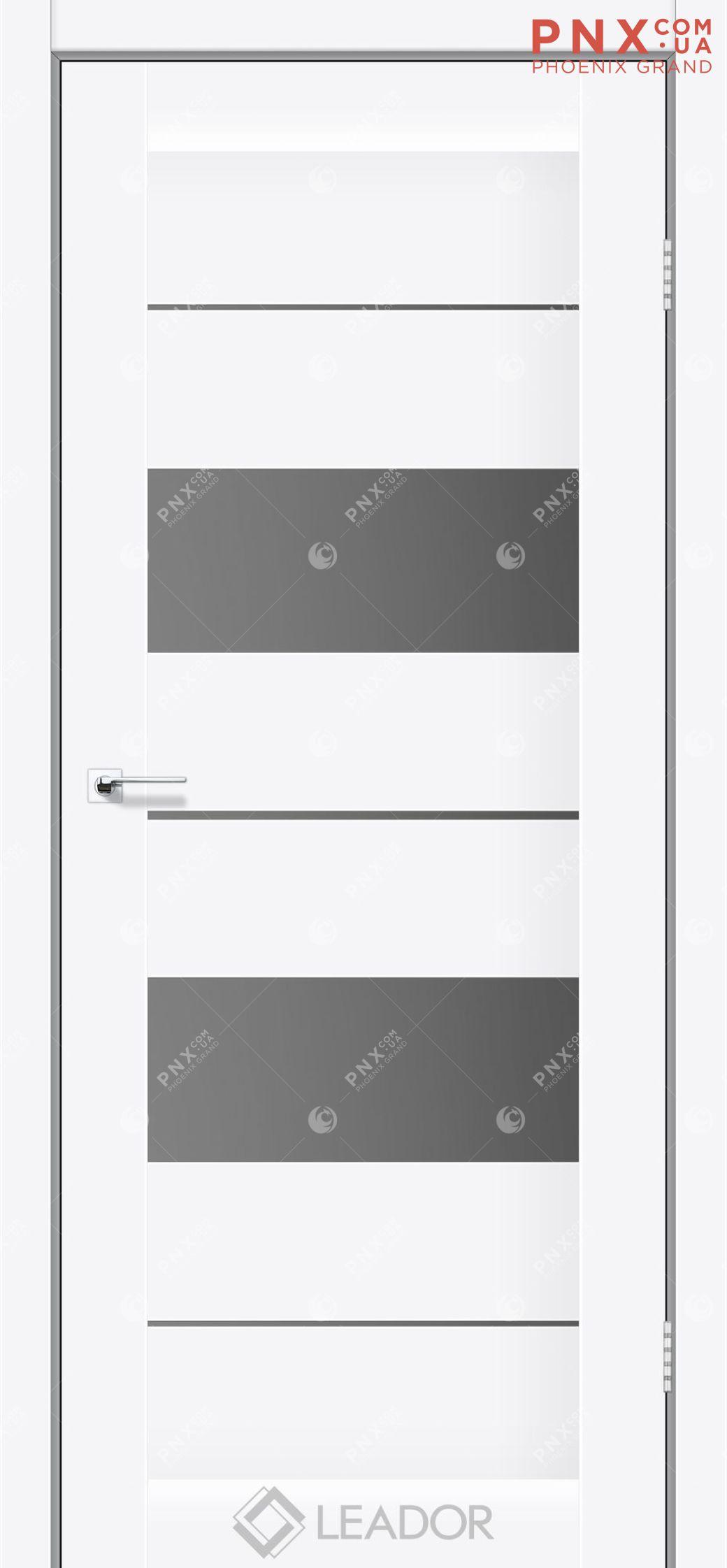 Межкомнатная дверь LEADOR Canneli, Белый матовый, Стекло серый графит