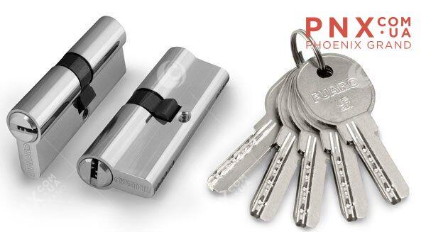 Цилиндровый механизм 100 DA/RC 90 mm (35+10+45) CP хром FUARO (с индивидуальным ключом)