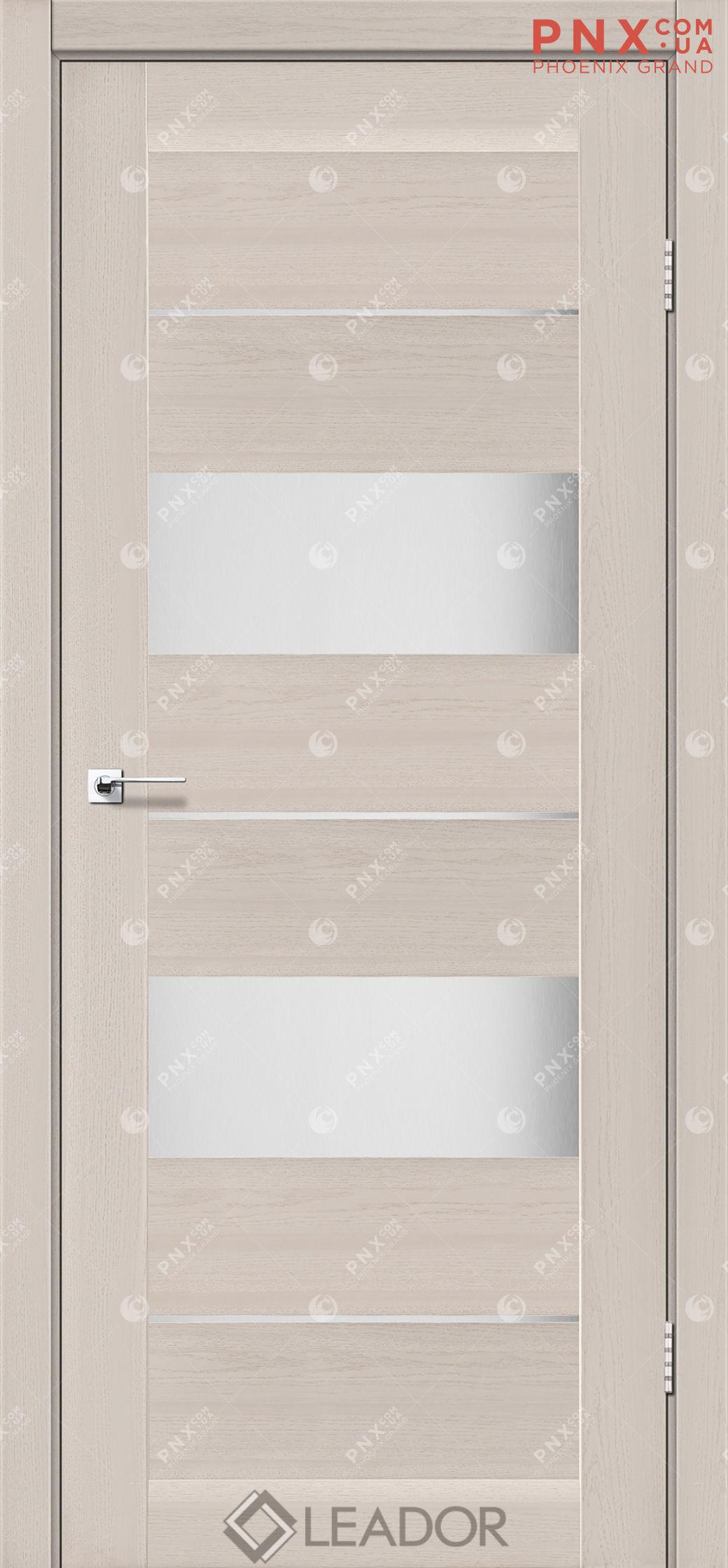 Межкомнатная дверь LEADOR Canneli, Дуб Латте, Белое стекло сатин