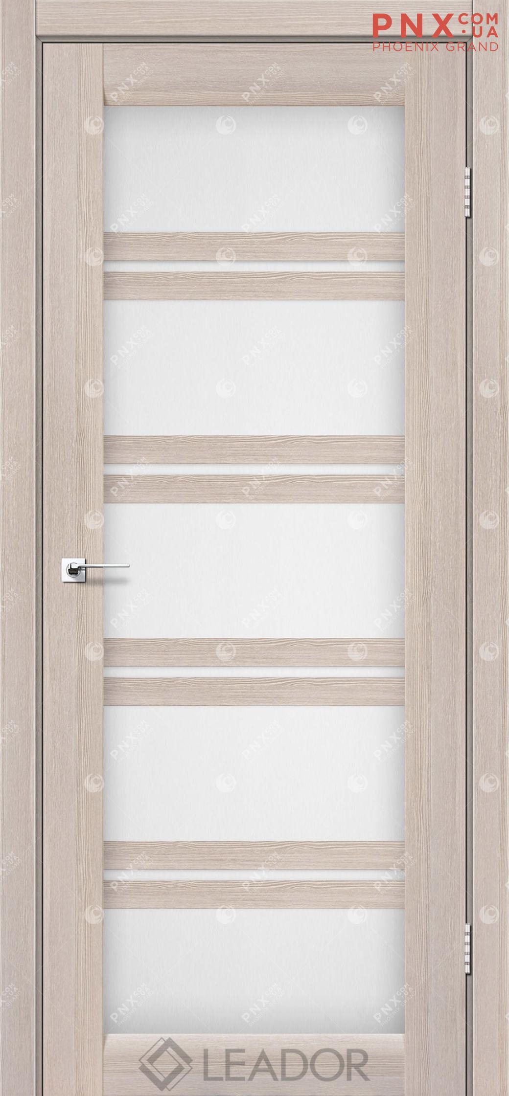 Межкомнатная дверь LEADOR Lodi, Монблан, Белое стекло сатин