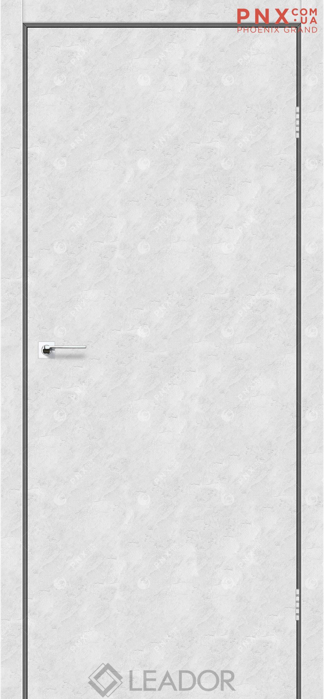 Межкомнатная дверь LEADOR Asti, Бетон Белый, Глухое+алюминиевый молдинг