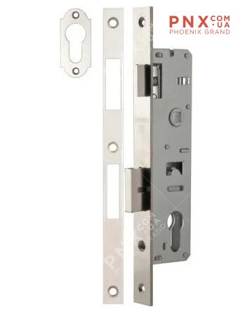 Корпус узкопрофильного замка с защелкой 153P-25/85 CP (хром) FUARO (для профильных дверей)