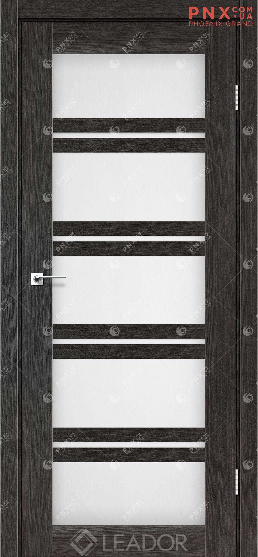 Межкомнатная дверь LEADOR Lodi, Дуб Саксонский, Белое стекло сатин