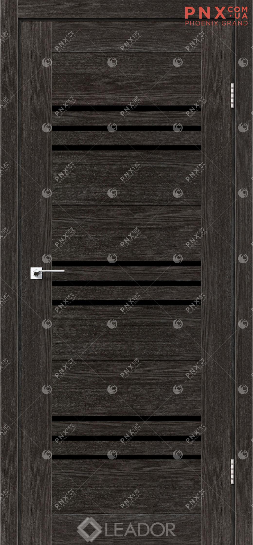 Межкомнатная дверь LEADOR Sovana, Дуб Саксонский, Черное стекло