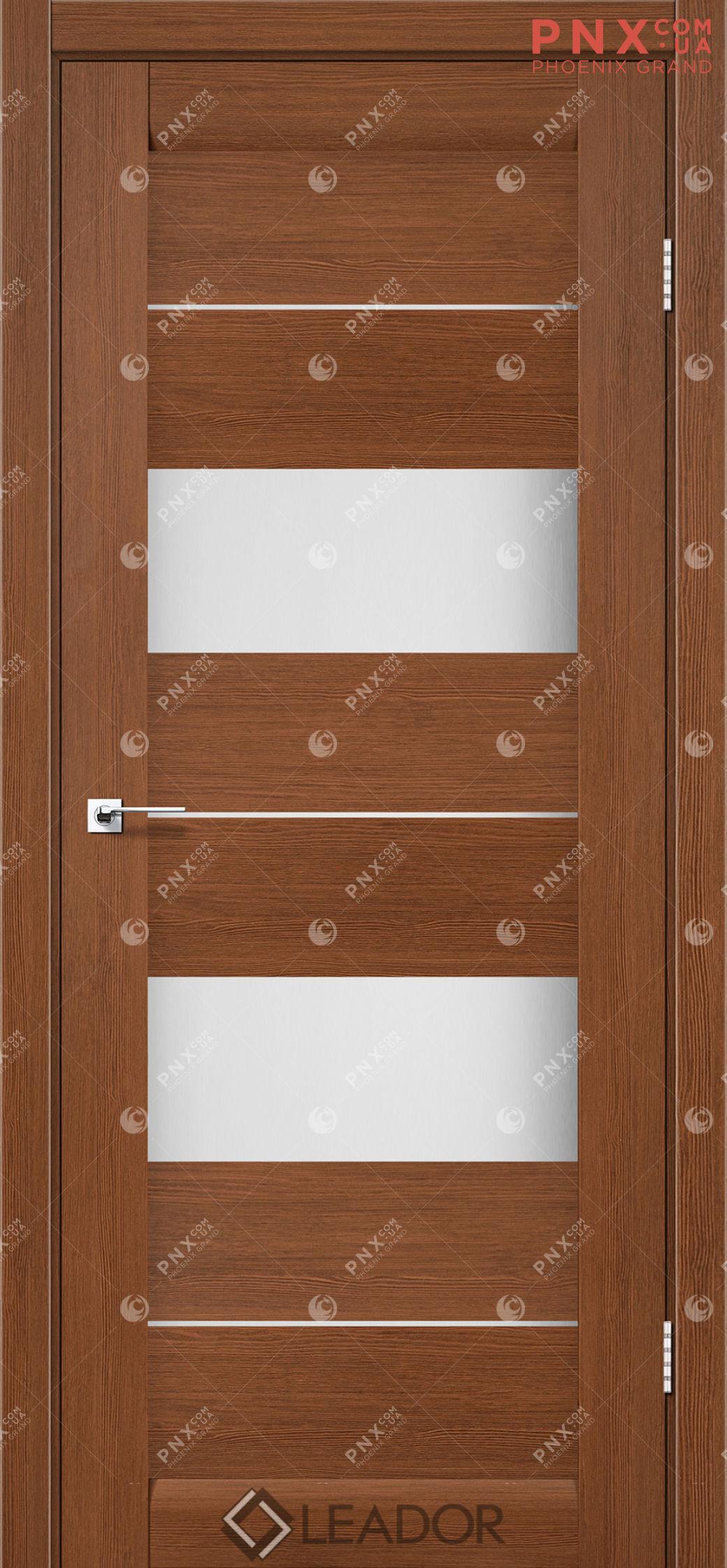 Межкомнатная дверь LEADOR Canneli, Браун, Белое стекло сатин