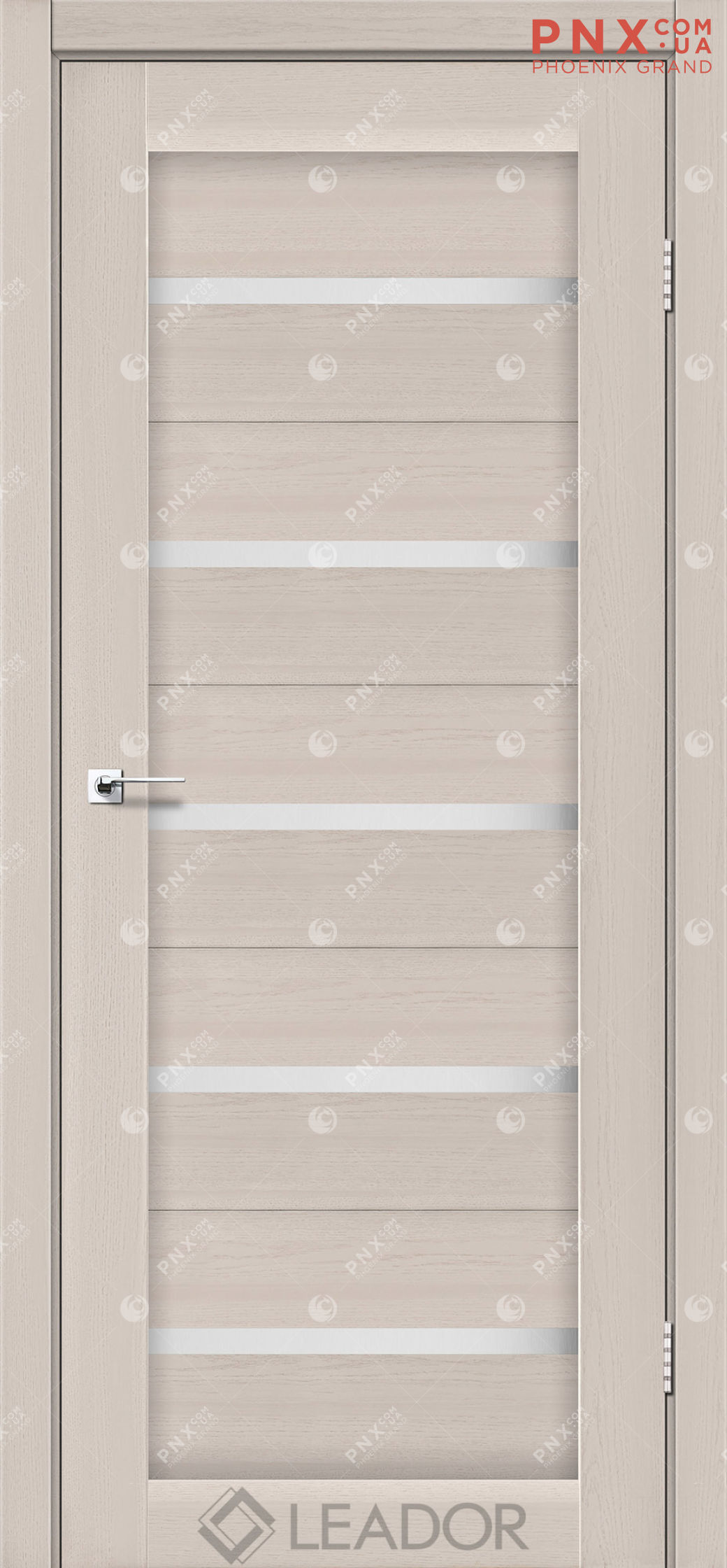 Межкомнатная дверь LEADOR Siena, Дуб Латте, Белое стекло сатин
