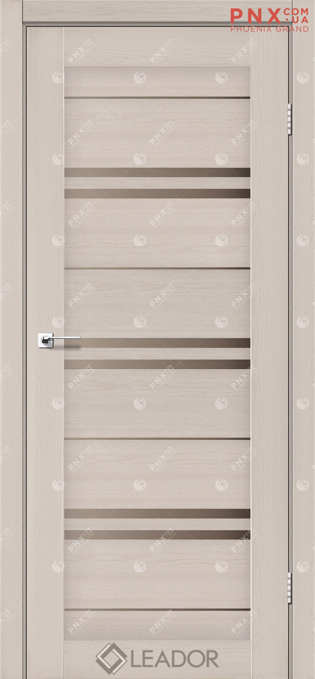 Межкомнатная дверь LEADOR Malta, Дуб Латте, Стекло сатин бронза