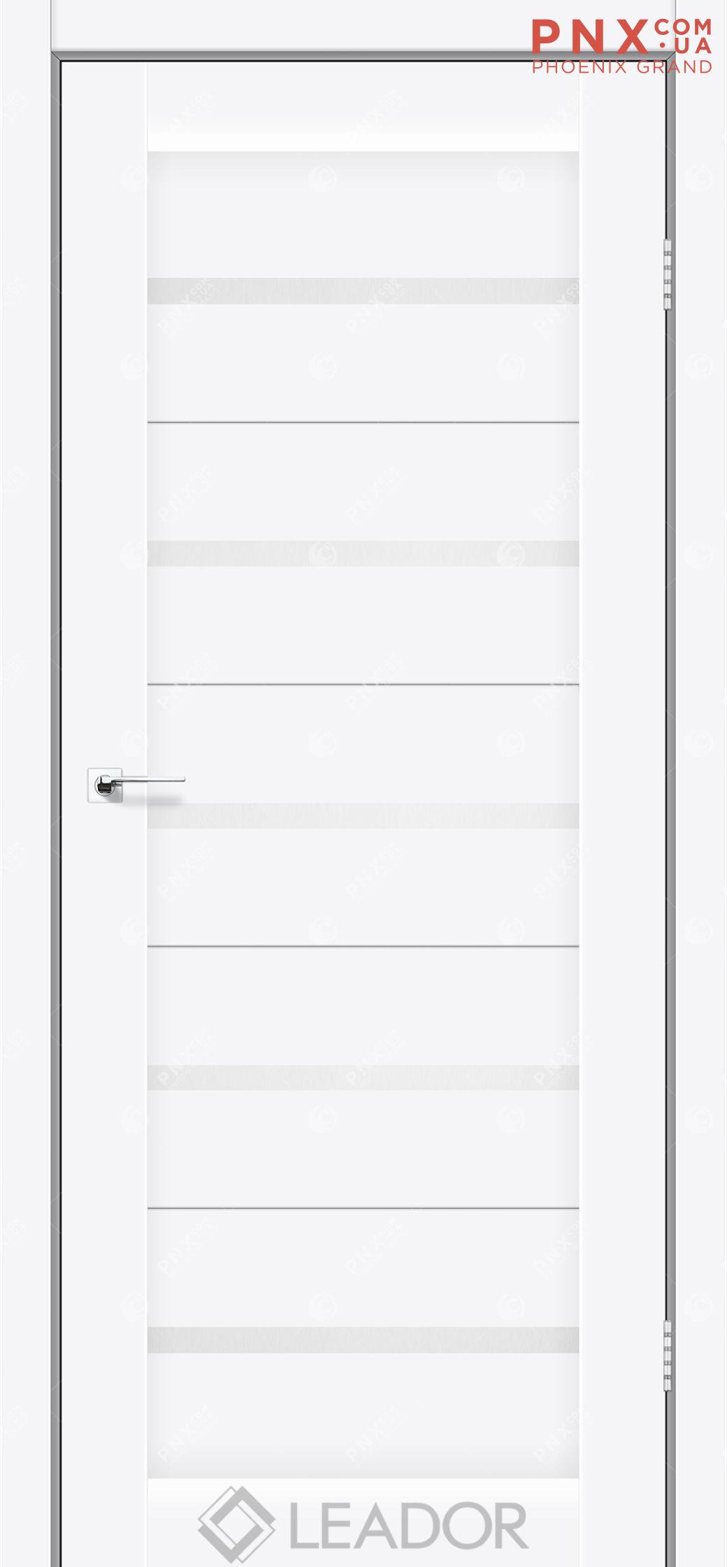 Межкомнатная дверь LEADOR Siena, Белый матовый, Белое стекло сатин