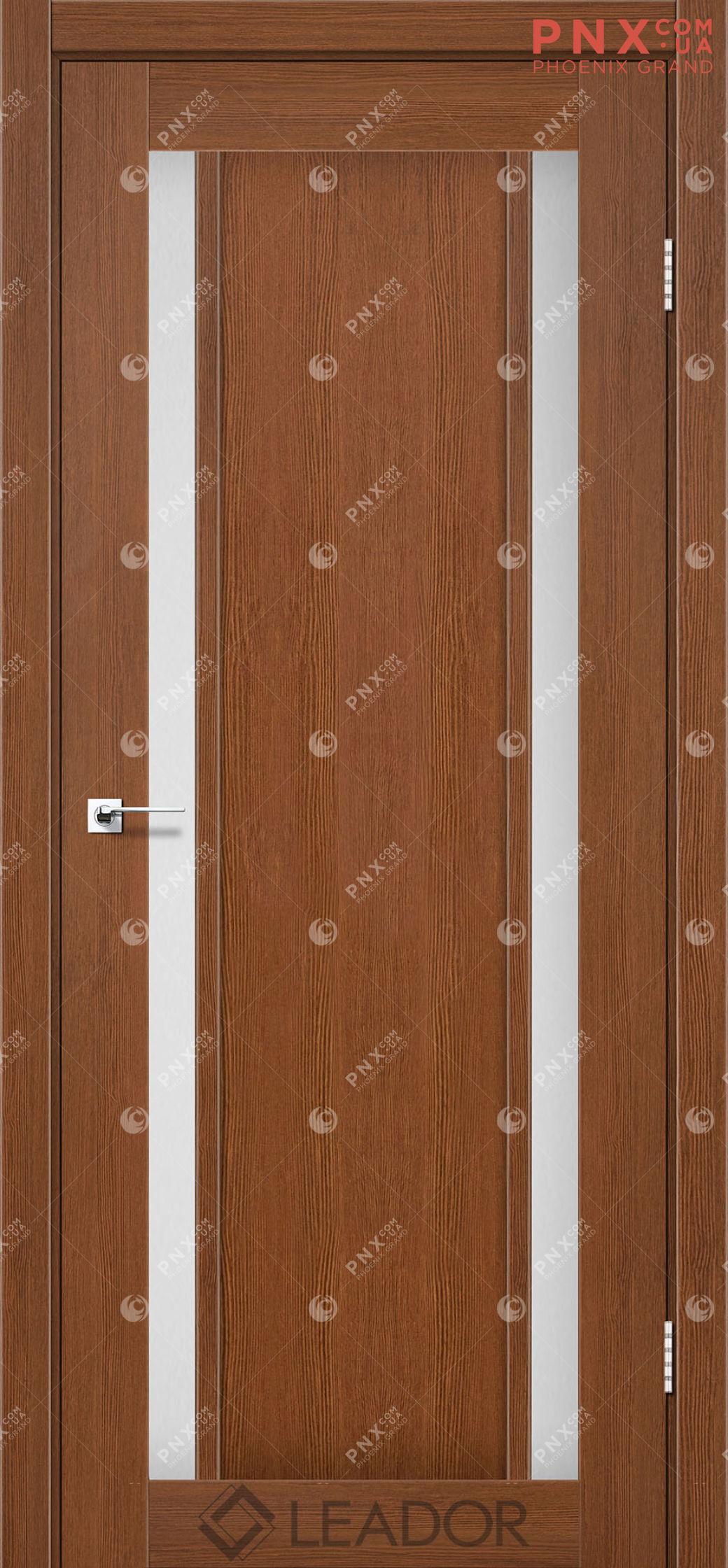 Межкомнатная дверь LEADOR Catania, Браун, Белое стекло сатин