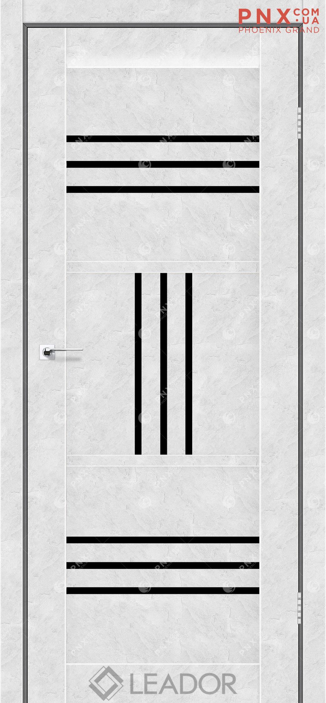 Межкомнатная дверь LEADOR Gela, Бетон Белый, Черное стекло