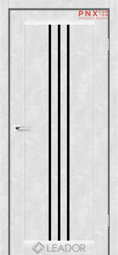 Межкомнатная дверь LEADOR Verona, Бетон Белый, Черное стекло