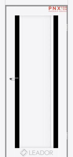 Межкомнатная дверь LEADOR Catania, Белый матовый, Черное стекло