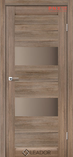 Межкомнатная дверь LEADOR Canneli, Серое дерево, Стекло сатин бронза