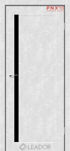 Межкомнатная дверь LEADOR Toskana, Бетон Белый, Черное стекло