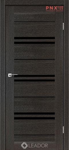 Межкомнатная дверь LEADOR Malta, Дуб Саксонский, Черное стекло