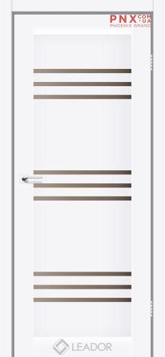 Межкомнатная дверь LEADOR Sovana, Белый матовый, Стекло сатин бронза