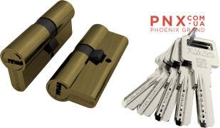 Цилиндровый механизм R600/70 mm (30+10+30) AB бронза 5 кл. FUARO (с индивидуальным ключом)
