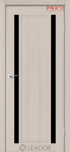 Межкомнатная дверь LEADOR Catania, Дуб Латте, Черное стекло