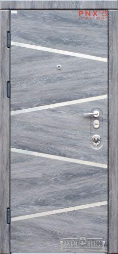 Входная дверь Форт Нокс,Троя, мдф/мдф Дуб шато+нерж.молдинг №3