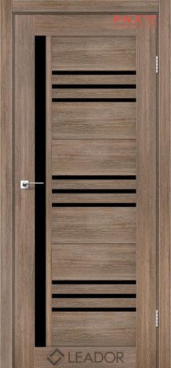 Межкомнатная дверь LEADOR Compania, Серое дерево, Черное стекло