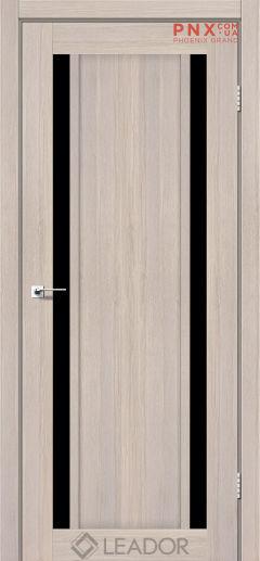 Межкомнатная дверь LEADOR Catania, Монблан, Черное стекло