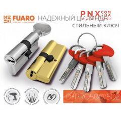 Цилиндровый механизм D-PRO502/80 mm (35+10+35) CP хром 5 кл. FUARO (с индивидуальным ключом)