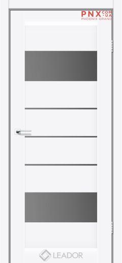 Межкомнатная дверь LEADOR Arona, Белый матовый, Стекло серый графит