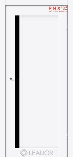 Межкомнатная дверь LEADOR Toskana, Белый матовый, Черное стекло