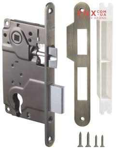 Замок межкомнатный под цилиндр LH 25-50 AB BOX ригель+защёлка (бронза) ARMADILLO (для легких дверей)