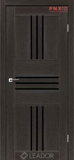 Межкомнатная дверь LEADOR Rona, Дуб Саксонский, Черное стекло