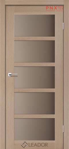Межкомнатная дверь LEADOR Veneto, Дуб Мокко, Стекло сатин бронза