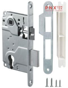 Замок межкомнатный под цилиндр LH 25-50 SN BOX ригель+защёлка (матовый никель) ARMADILLO (для легких дверей)
