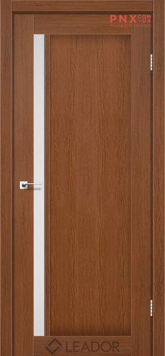 Межкомнатная дверь LEADOR Toskana, Браун, Белое стекло сатин