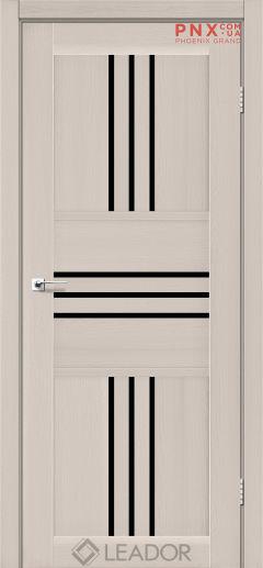 Межкомнатная дверь LEADOR Rona, Дуб Латте, Черное стекло