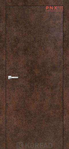 Міжкімнатні двері  Korfad LP-01 , арт бетон, глухі+алюмінієвий торець