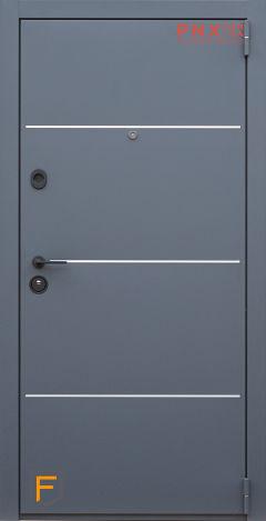 Входная дверь Форт Нокс, Гранд New, металл/металл Муар 7024+DA-10 алюминий молдинг