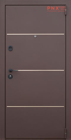 Входная дверь Форт Нокс, Гранд New, металл/металл Муар 8017+DA-10 никель молдинг