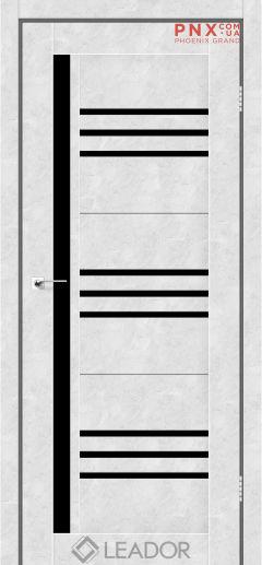 Межкомнатная дверь LEADOR Compania, Бетон Белый, Черное стекло