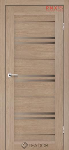 Межкомнатная дверь LEADOR Malta, Дуб Мокко, Стекло сатин бронза