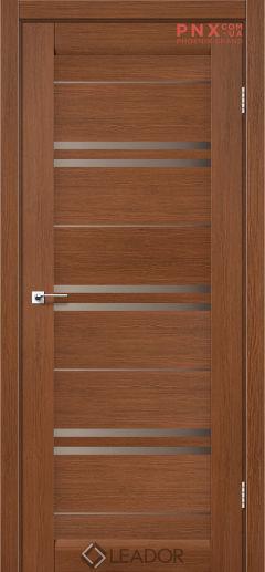 Межкомнатная дверь LEADOR Malta, Браун, Стекло сатин бронза