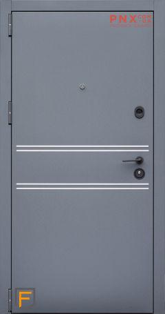 Входная дверь Форт Нокс, Стрит, металл/мдф муар7024+флюминиевый молдинг/астана пыльно-серый