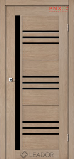Межкомнатная дверь LEADOR Compania, Дуб Мокко, Черное стекло