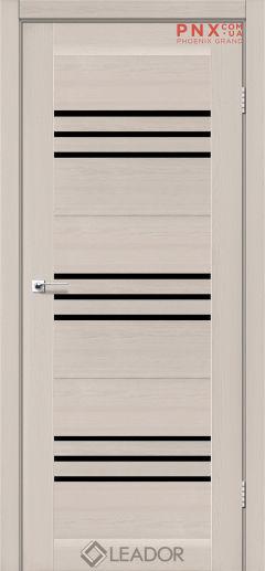 Межкомнатная дверь LEADOR Sovana, Дуб Латте, Черное стекло