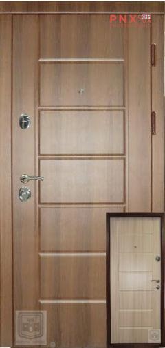 Входная дверь Форт Нокс, Стандарт, мдф/мдф орех шоколадный DG-36/дуб шимо светлый DG-36