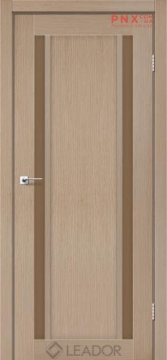 Межкомнатная дверь LEADOR Catania, Дуб Мокко, Стекло сатин бронза