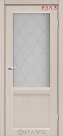 Межкомнатная дверь LEADOR Laura LR-01, Дуб Латте, Белое стекло сатин+L1